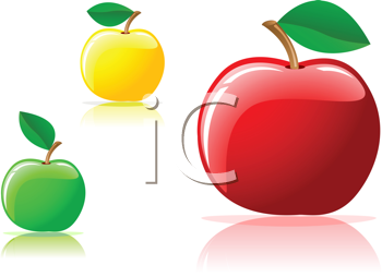 Royalty Free Clipart Image of Glossy Apples