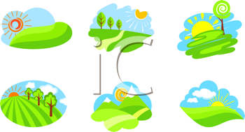 Royalty Free Clipart Image of Nature Scenes