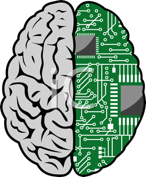 Royalty Free Clipart Image of a Brain and Motherboard