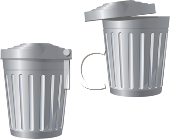 Royalty Free Clipart Image of Garbage Bins