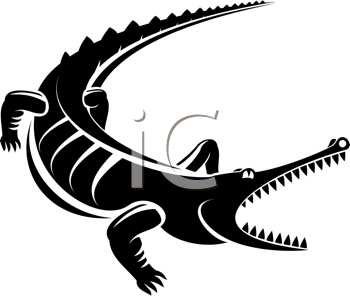 Royalty Free Clipart Image of a Crocodile