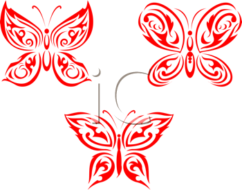 Royalty Free Clipart Image of a Set of Butterflies