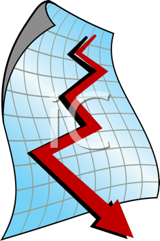 Royalty Free Clipart Image of a Graph With an Arrow Pointing Down