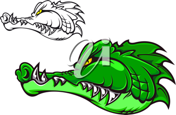 Cartoon crocodile head for tattoo or mascot design