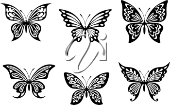 Black butterfly tattoos and silhouettes isolated on white background
