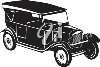 Roadster car in retro style for vintage design