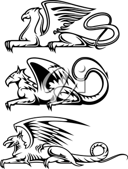 Medieval gryphons set for tattoo, mascot or heraldry design