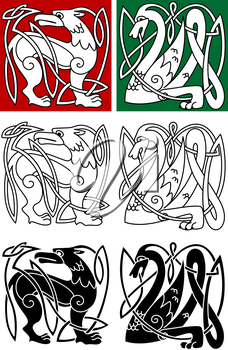 Abstract animals in celtic style for religion or tattoo design