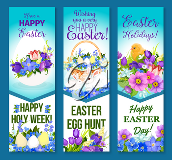 Happy Easter banners of paschal hunt eggs, chicks in wicker basket and spring flowers or willow wreath bunch. Easter vector templates design for religion springtime holiday greeting card