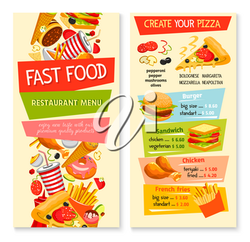 Fast food restaurant menu flat template. Price for fastfood sandwiches or burgers, snacks, drinks and desserts. Vector hot dog and french fries, popcorn basket and grill chicken wings, barbecue hambur