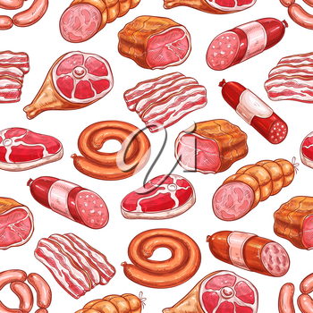 Meat products vector seamless pattern. Butchery shop gourmet delicatessen and gastronomy sketch brisket ham or bacon, brats, wiener and frankfurter sausages, salami or cervelat, ribeye steak and hamon