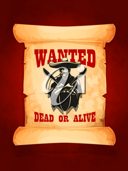 Wanted poster of mexican robber or bandit. Old paper scroll with moustached man wearing sombrero and poncho with knife or machete in crossed hands. Wanted dead or alive concept design