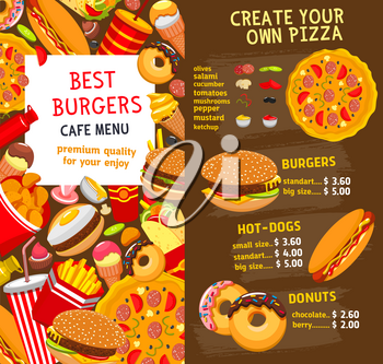 Fast food restaurant burgers and sandwiches menu template. Vector price card for fastfood menu hamburgers and hot dogs, pizza and cheeseburger or soda drinks, french fries or chicken nuggets and ice c