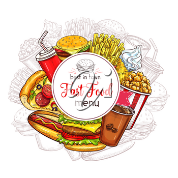 Fast food restaurant menu cover vector template. Design of fastfood meals, snacks and desserts, burger sandwiches, hamburgers and cheeseburgers with french fries and hot dog, pizza and ice cream