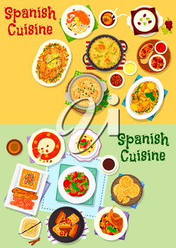 Spanish cuisine national dishes icon set of seafood tomato pasta, baked meat, ham tapas, rice paella, fried pork, vegetable salad and stew, bread and nut soup, chilli potato, fruit pie, egg dessert