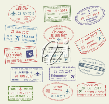 Passport travel stamps icons with city names of USA America and Canada, Atlanta, Vancouver or Chicago and Las Vegas or San Francisco and Miami. Vector isolated set of country migration arrival entry