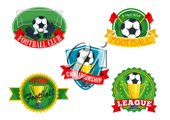 Football club icons set or badges for soccer sport game championship. Vector isolated symbols of football ball, flags and ribbons with golden winner cup or champion award goblet and goalkeeper gloves