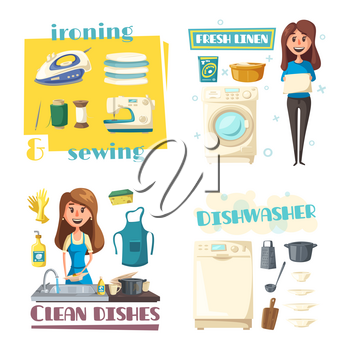 Home cleaning, dish washing and sewing or ironing. Vector woman in apron with laundry or fresh linen, wash dishware plates in kitchen sink, iron or threads and needle, washing and sewing machine