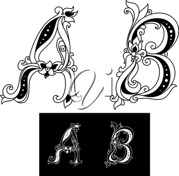 Title letters A and B in floral style for design