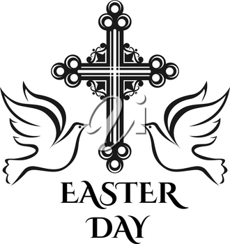 Easter day celebration icon of cross crucifix and doves for Christian religious Holy Easter Sunday holiday greeting card design. Vector isolated ornate Christianity cross for Resurrection day