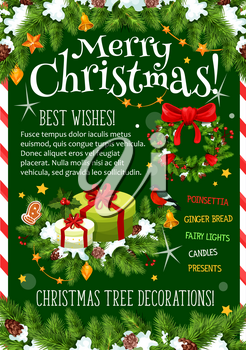 Merry Christmas wish greeting card for winter holidays celebration. Vector Santa gift presents under Christmas tree, holly wreath garland decoration garland of golden bell and star lights in snow