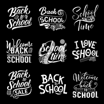 Welcome back to school chalk lettering on blackboard background. Welcome to school sale offer promotion hand calligraphy icon, decorated with education supplies, stationery and accessory