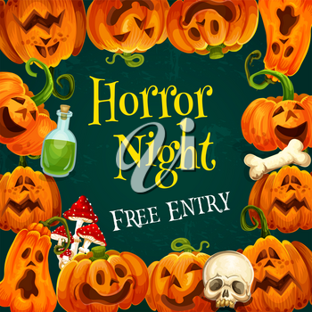 Horror night party invitation poster in frame of Halloween pumpkin. Orange jack o lantern greeting card border with skeleton skull and witch potion for autumn holiday celebration festive banner design