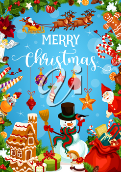 Christmas holiday greeting card with festive frame of New Year gift and ornaments. Snowman, Santa and present, Xmas tree and holly berry garland, snowflake, star and ball, cookie, candy and ribbon bow