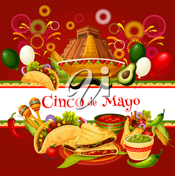 Cinco de Mayo greeting card for mexican holiday celebration. Latin American spring festival sombrero, maracas, chili and jalapeno pepper, food, drink and firework for fiesta party invitation design