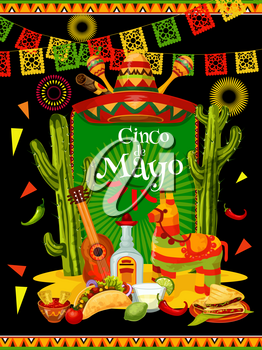Cinco de Mayo festive banner for mexican holiday invitation. Fiesta party traditional food and drink, sombrero, chili and jalapeno pepper, guitar, tequila and maracas, pinata, cactus and flag poster
