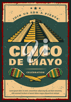 Mexican holiday retro banner for Cinco de Mayo fiesta party invitation. Maracas and ancient aztec pyramid festive poster, adorned with ethnic ornament for Latin American spring festival design