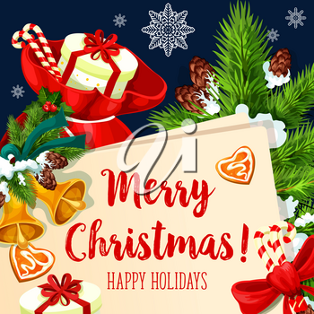 Merry Christmas wish greeting card design for winter holidays celebration. Vector Santa presents gift bag and Christmas tree golden bell decoration, fir cones or gingerbread cookie and red ribbon