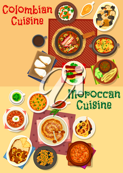 Colombian and moroccan cuisine icon set. Seafood and meat stew with bean, chicken soup, tomato onion sauce, shrimp rice, eggplant vegetable salad, fried pork, chicken and lamb, milk cake and fig pie