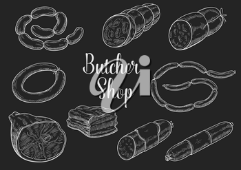 Butchery sausages chalk sketch. Vector icons of bacon or pork lard, ham salami kielbasa and lyon sausage bundle or curry wursts. Butcher shop or farm market beef steak gourmet barbecue products