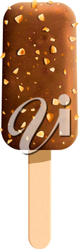 Chocolate ice cream 3d icon. Vanilla ice cream bar, covered with milk chocolate and nuts on wooden stick. Cold summer treat for dessert menu or food packaging design