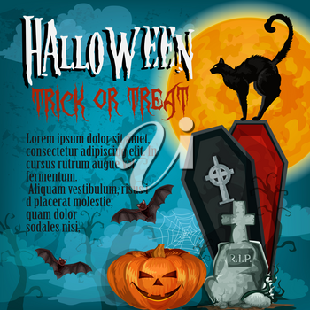 Halloween trick or treat celebration or horror night holiday greeting poster or card template. Vector Halloween pumpkin, zombie deadman in coffin on graveyard, black witch cat and bats in moonlight