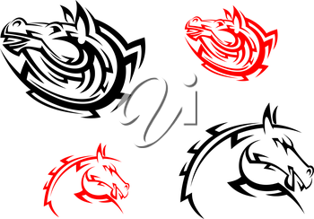 Tribal mascots with red and black horses for design
