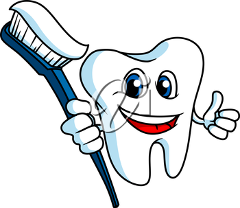Smiling tooth in cartoon style with tooth-brush for hygiene concept