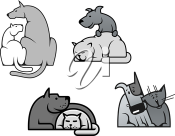 Pets friendship - dog and cat in cartoon mascot style