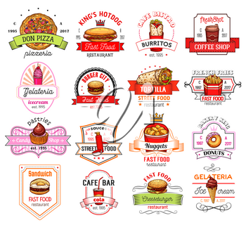 Fast food restaurant and cafe badge. Hamburger, hot dog and tortilla roll sandwich, pizza, donut and coffee, french fries, soda and ice cream, mexican burrito and chicken nuggets sketch label design