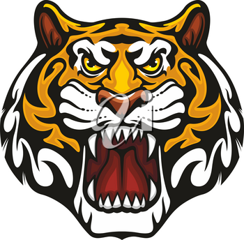 Tiger head or wild animal roaring muzzle for sport team mascot. Vector isolated flat icon of wildcat lion, leopard, or jaguar predator symbol for blazon, badge or hunting nature adventure club