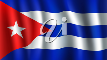 Cuba flag 3D background of white star on red triangle background and blue horizontal stripes. Cuban republic South America country official national flag waving fabric vector texture