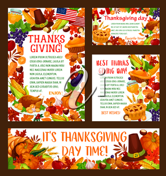 Thanksgiving Day greeting banner set. Autumn harvest holiday template with pumpkin vegetable, turkey, fallen leaf, pilgrim hat, cornucopia with apple fruit, grape, pie, honey, acorn and autumn foliage