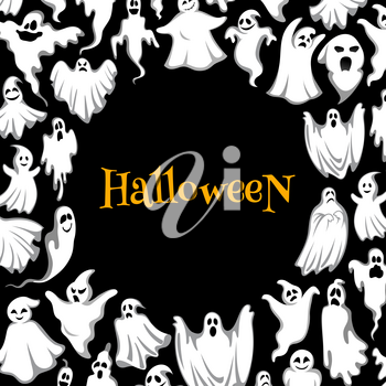 Halloween ghost poster of october holiday celebration. Spooky ghost round frame with flying monster or spirit, creepy poltergeist and funny phantom for Halloween holiday greeting card design