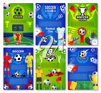 Soccer sport club poster set with football team player. Soccer ball with winner trophy cup on football stadium field banner design, decorated with flag, ribbon, champion wreath and referee card design