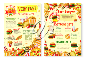 Fast food restaurant poster with burger, sandwich and drink menu template. Hamburger, hot dog and pizza, french fries, coffee and soda, taco, ice cream and popcorn banner with fast food ingredients