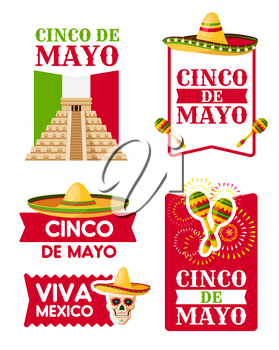 Mexican Cinco de Mayo holiday badge set. Sombrero hat, maracas and aztec pyramid with flag of Mexico, festive ribbon banner and Viva Mexico text for spring fiesta party greeting card design