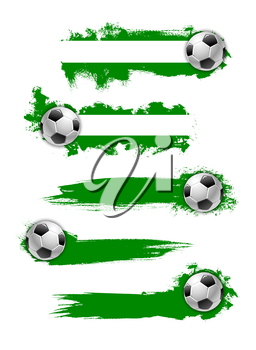 Soccer game banners design template for football cup championship. Vector set of soccer ball and green color splash for football championship game or college fan club league team icons