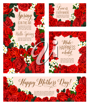Spring is in Air seasonal greeting cards for Mother day holiday of red roses and flowers bunch for springtime season celebration. Vector design of blooming roses bouquets and white spring crocuses