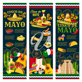 Cinco de Mayo Festival greeting banner for mexican holiday celebration design. Latin American fiesta party food and festive symbol of sombrero hat, maracas and pepper, tequila, cactus and guitar